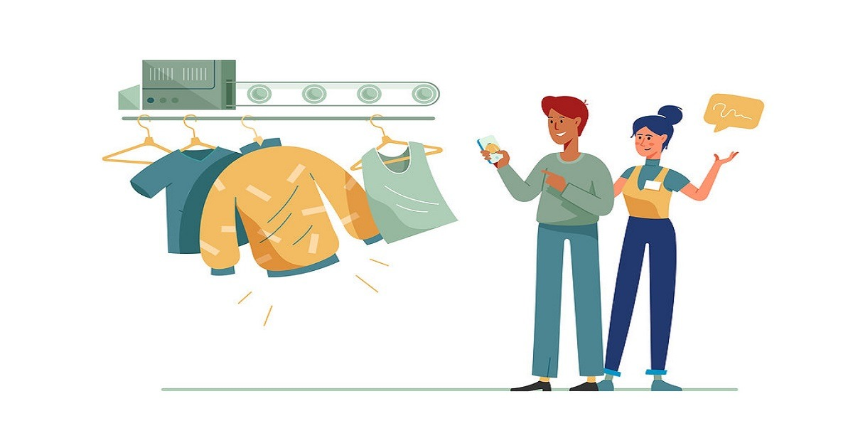 shopping illustration - cheapest clothes app